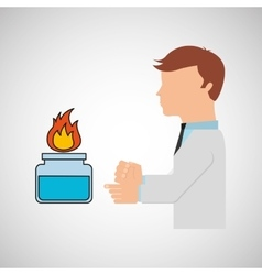Scientist worker research laboratory burner icon vector