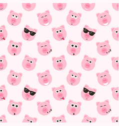 Seamless pattern with cute pink pig faces vector