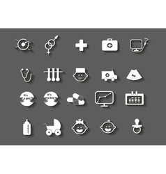 set of healthcare medical woman pregnancy icons vector image vector image