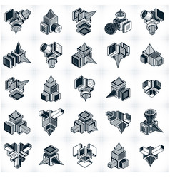 set of isometric abstract geometric shapes vector image