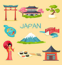 Set of japanese national symbols vector