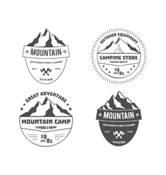 Set of monochrome outdoor adventure and mountain vector
