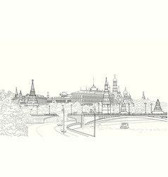 sketch of the moskow kremlin vector image vector image