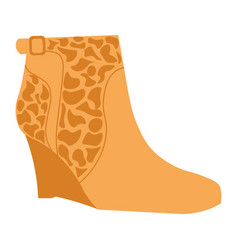 Stylish autumn suede half-boot with giraf pattern vector