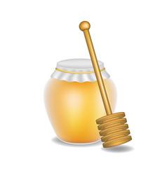 Sweet honey and wooden honey dipper vector