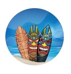 Tiki warrior mask design surfboard on ocean beach vector
