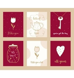 Valentine cards and love notes hand drawn set vector