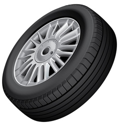 Wheel and tire isolated vector image vector image