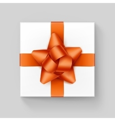 White square gift box with orange ribbon bow vector