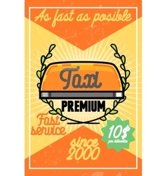 Color vintage taxi poster vector image