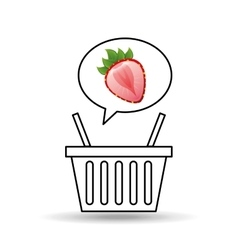 Basket market sweet strawberry icon design vector