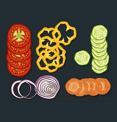 fresh cutting vegetables set vector image