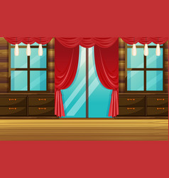 Room with wooden furniture and red curtain vector