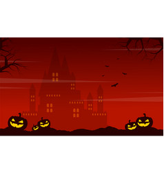 Halloween on red background with castle vector