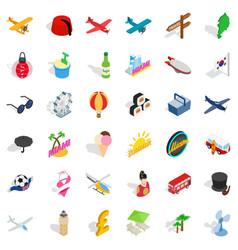 Miami travel icons set isometric style vector