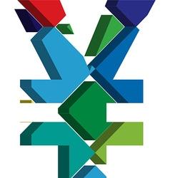 3d YEN symbol vector image