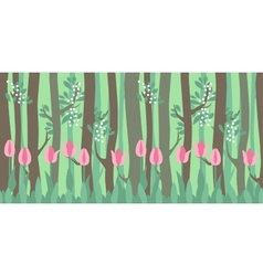 Seamless horizontal pattern with tulips and trees vector image