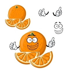 Cartoon happy orange fruit with slices vector
