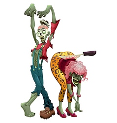 Funny couple of zombies vector