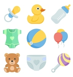 Flat icon set kids toys and things vector image
