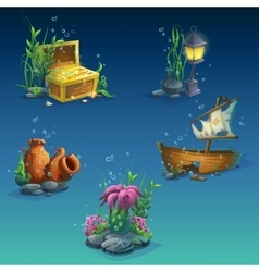Set of underwater objects vector