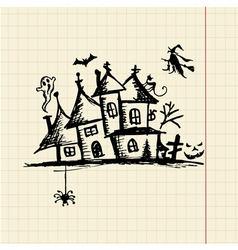 Old mystery house halloween night vector