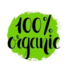 One hundred percent organic natural label vector