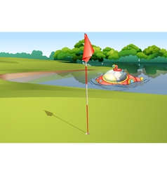 Sumbarine at golf course vector
