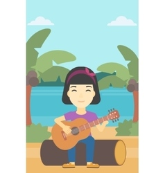 Musician playing acoustic guitar vector
