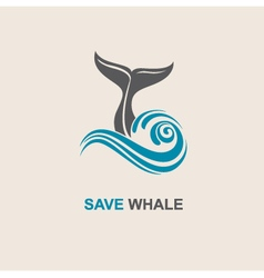 abstract whale icon vector image vector image