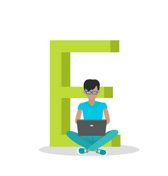 alphabet mobile people flat design concept vector image