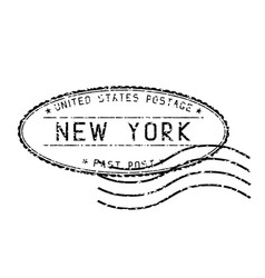 Black faded mail stamp new york post vector