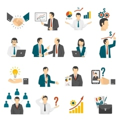 Business training consulting service icons set vector
