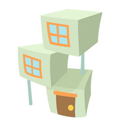City building icon cartoon style vector