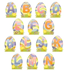 Cute Easter alphabet vector image vector image