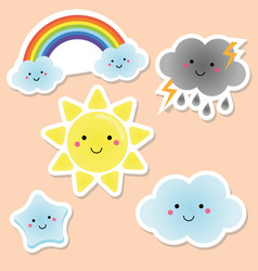 Cute weather and sky elements kawaii sun rainbow vector