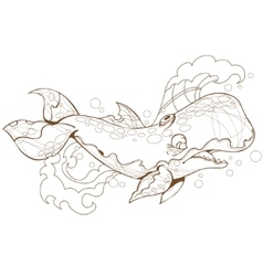 cute whale sperm whale vector image vector image