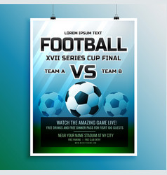 Football game event tournament invitation design vector