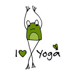 Funny yoga frog sketch for your design vector