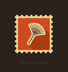 Garden rake retro flat stamp with long shadow vector