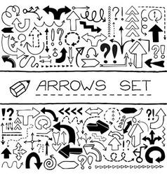 Hand drawn arrow icons set vector image vector image