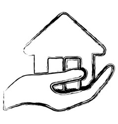 Hand holding a house icon vector