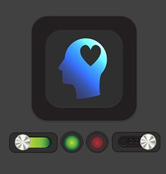 Icon head think silhoutte man and his mind about vector image vector image