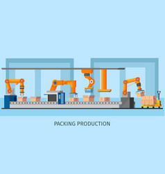industrial packing system process template vector image vector image