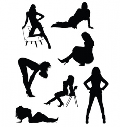 Lady silhouettes vector
