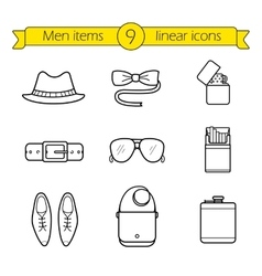 Men accessories linear icons set vector
