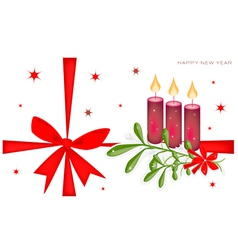 New Year Card with Mistletoe and Candles vector image vector image