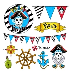 Pirate party elements on white background vector