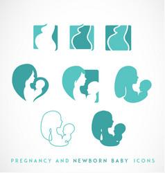 Pregnancy and newborn icon set vector