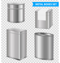 realistic metal tea boxes set vector image